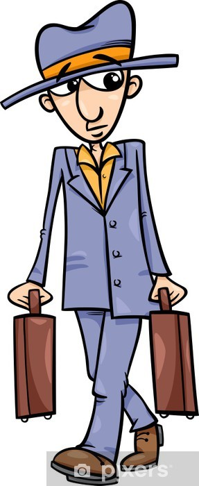 Carta da Parati in Vinile L uomo con l illustrazione dei cartoni animati  valigie 8db3b170b090