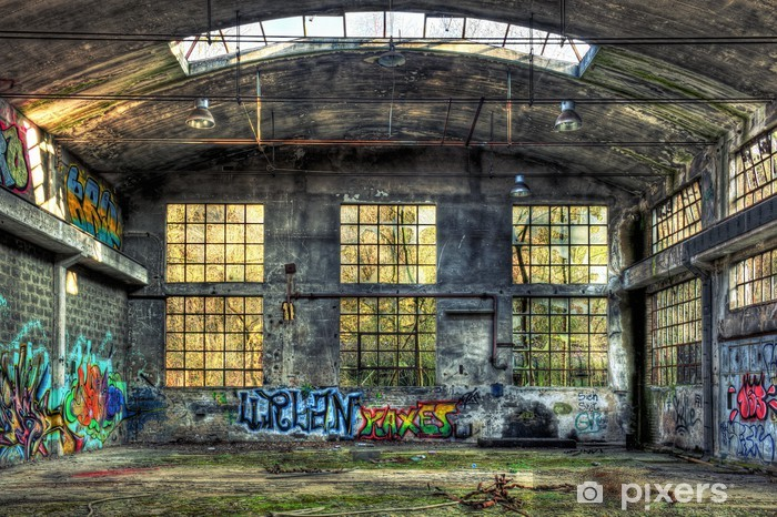 Interior of a derelict industrial building Vinyl Wall Mural - Business Concepts