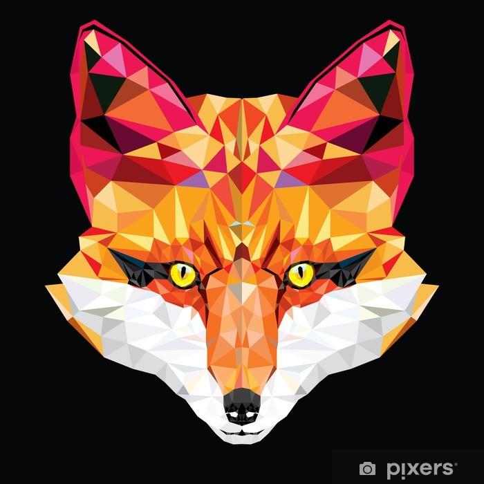 Pixerstick Sticker Fox hoofd in geometrisch patroon, vector illustratie - Stijlen