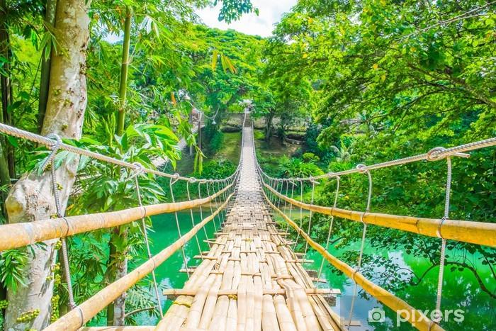 Bamboo pedestrian suspension bridge over river Vinyl Wall Mural - Themes