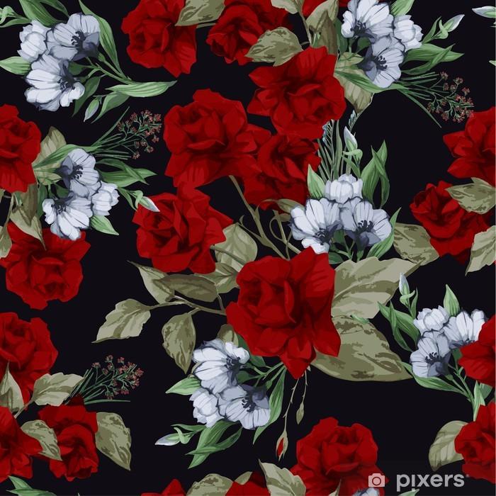 Plakat Wektor bez szwu kwiatowy wzór z różami, akwarela - Tła