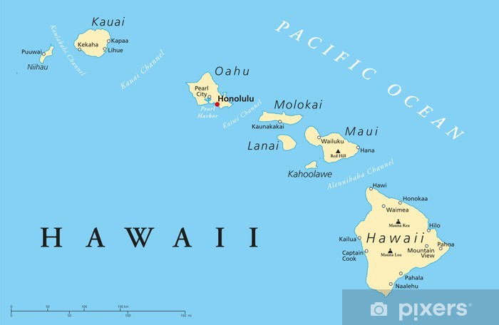 Hawaii Islands Political Map Pixerstick Sticker - Themes