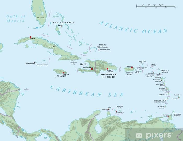 Fototapete Karibik Grosse Und Kleine Antillen Politische Karte