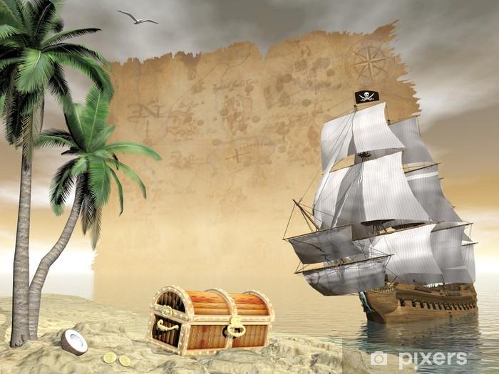 Pirate ship finding treasure - 3D render Vinyl Wall Mural -