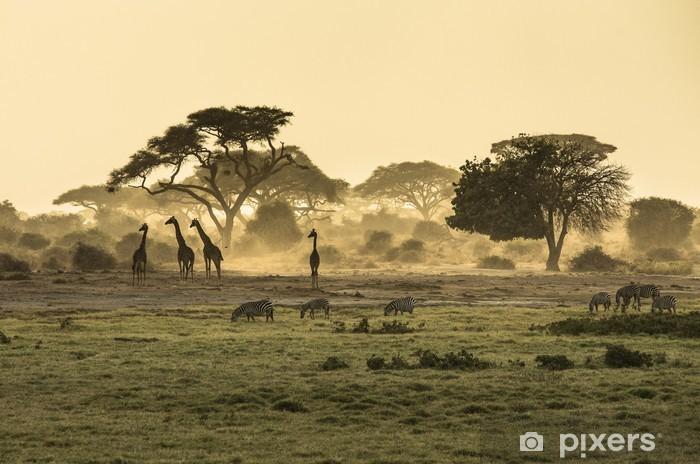 Vinyl Fotobehang Silhouet van giraffen - Afrika