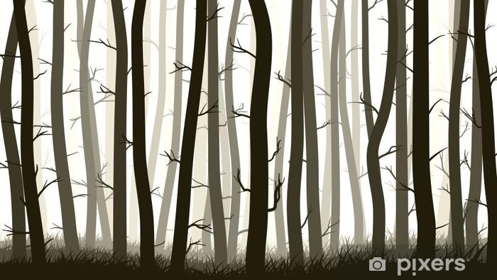 Nálepka Pixerstick Horizontální ilustrace s mnoha borovic. - Lesy