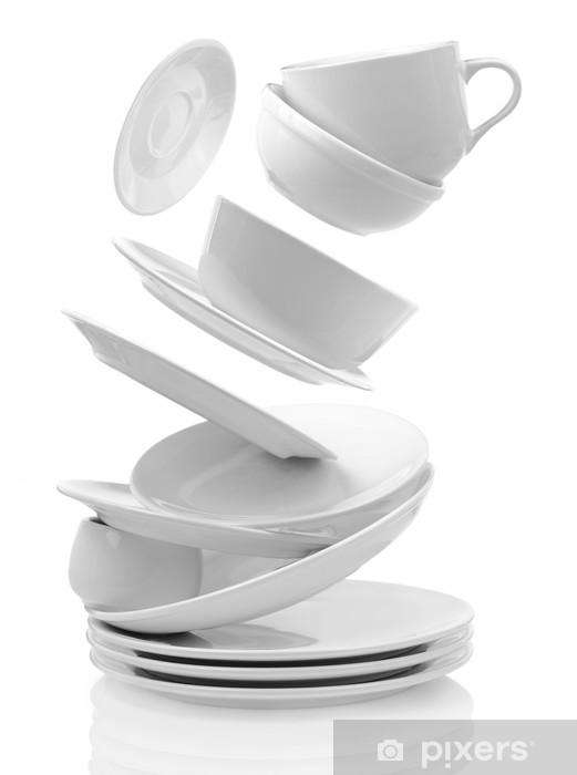 Vinilo Pixerstick Platos y tazas vacías limpias aislados en blanco - Temas