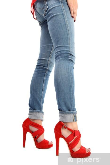 en tacón jeans rojos Piernas Estándar y zapatos de Fotomural 7qfnEE