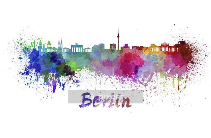 Naklejka na ścianę Berlin skyline w akwareli - Naklejki na ścianę