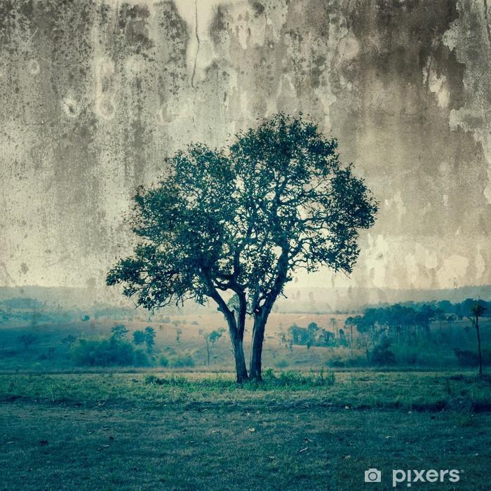 Yksi puu edustaa yksinäisyyttä ja surua Vinyyli valokuvatapetti -
