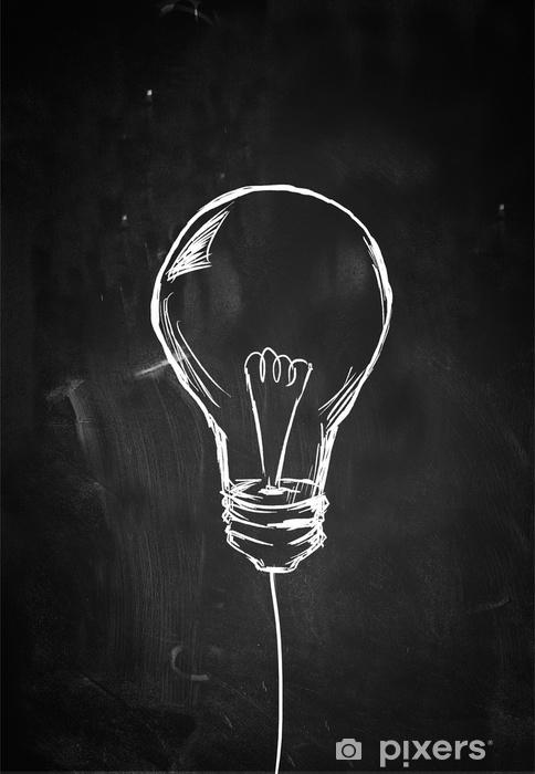 Single Bulb Sketch on Blackboard Pixerstick Sticker - States of Mind