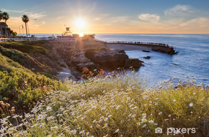 Sunset at La Jolla cove beach, San Diego, California Vinyl Wall Mural - Water