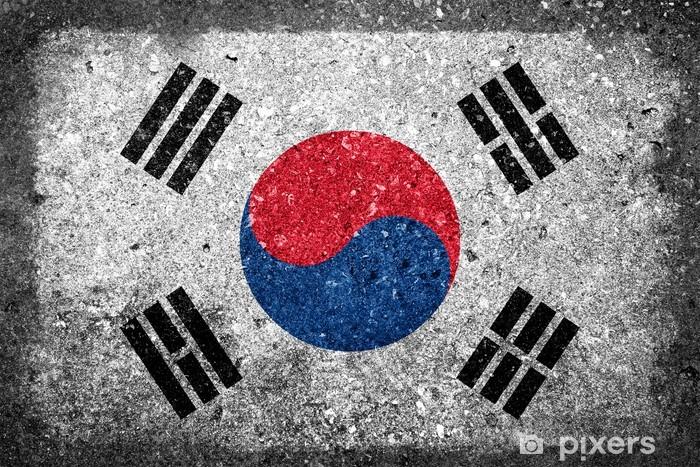 Fototapeta winylowa Flaga Korei Południowej na betonowej ścianie malowane - Tematy