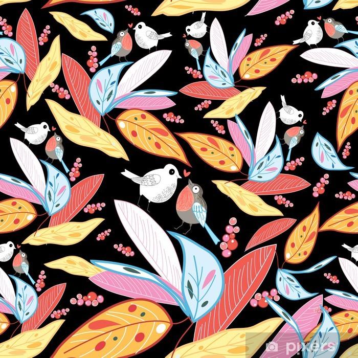 Vinyl-Fototapete Textur Liebe Vögel und Blätter im Herbst - Jahreszeiten