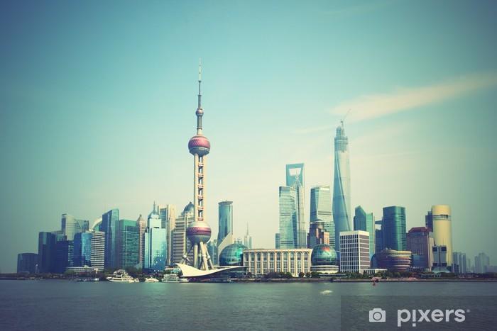 Zelfklevend Fotobehang Shanghai skyline - Aziatische steden