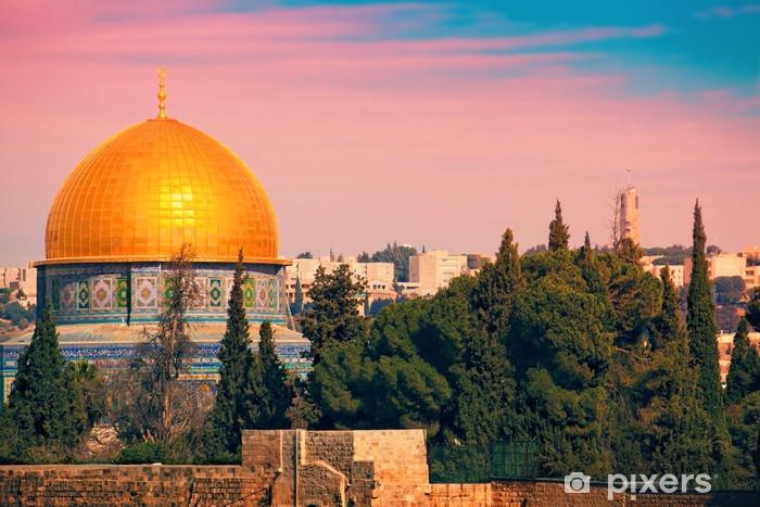 Pixerstick Dekor Klippdomen på Tempelberget i Jerusalem vid solnedgången - Mellanöstern