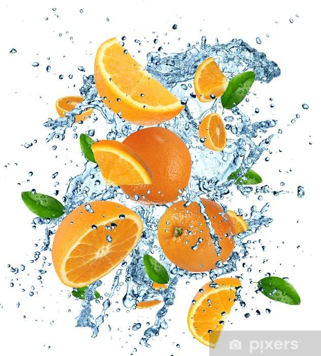 Sticker Pixerstick Oranges avec les projections d'eau - Repas