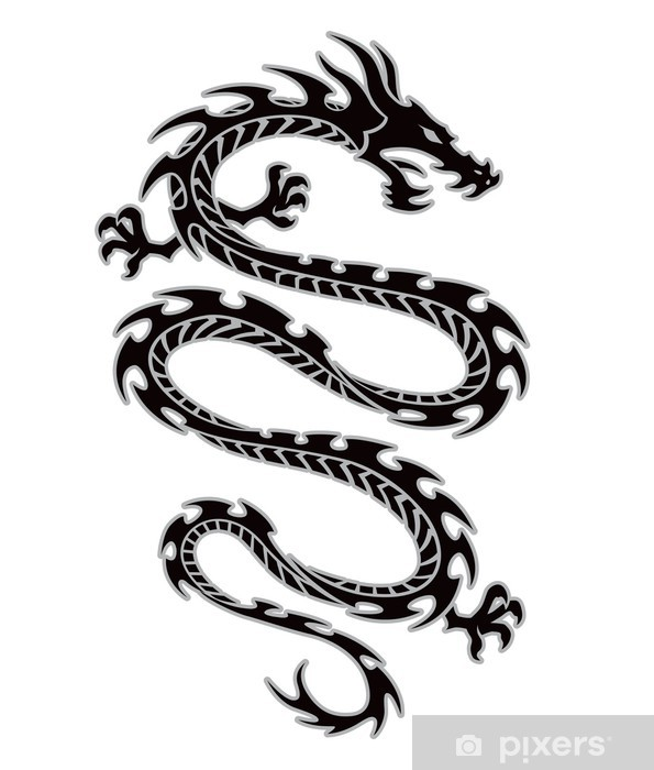Naklejka Tribal Tatuaż Smoka Pixerstick