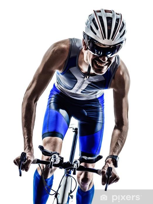 Papier peint vinyle Homme triathlon fer cyclistes homme d'athlète bicyclette - Thèmes
