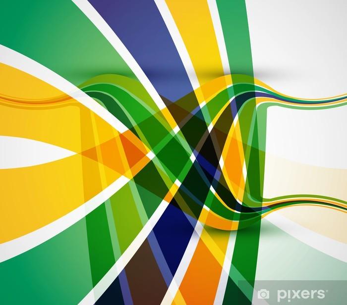 Plakat Flaga Brazylii biznes koncepcja kolorowe stylowe illust wektor fali - Koncepcje biznesowe
