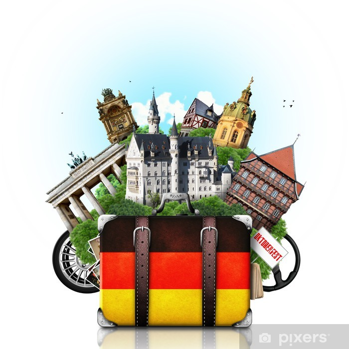 Germany, german landmarks, travel and retro suitcase Pixerstick Sticker - Germany