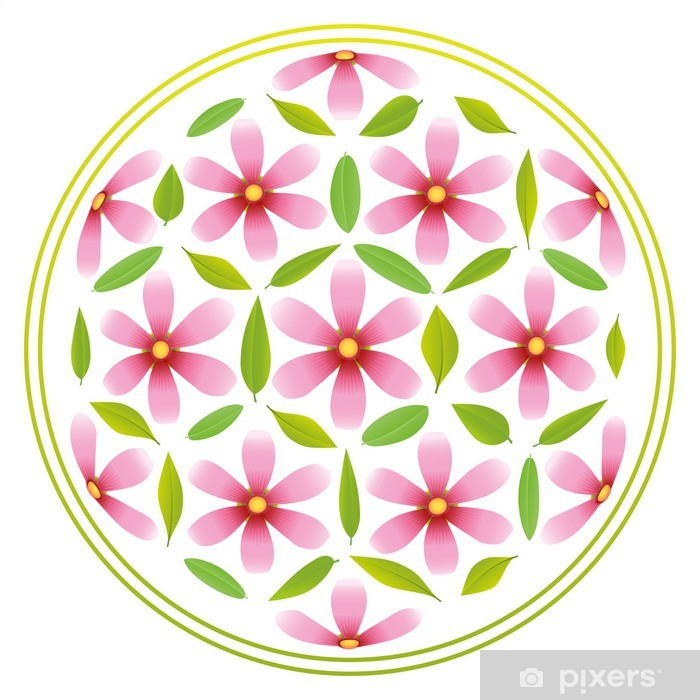 Pixerstick Sticker Flower of Life Bloemen - Muursticker