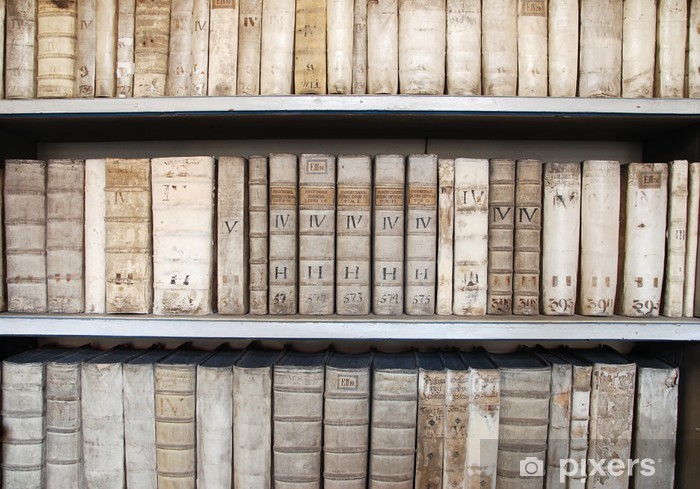 Library shelves with ancient medieval medical books Pixerstick Sticker - Library