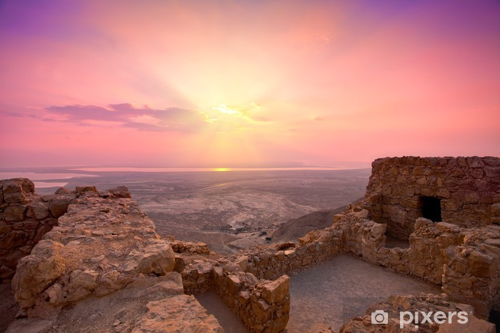 Pixerstick Dekor Vacker soluppgång över gamla Masada fästning i Israel - Mellanöstern