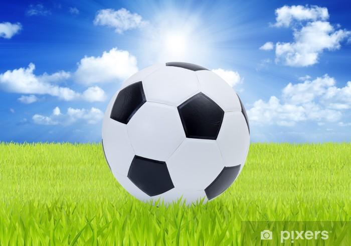 Fotomural Estándar Balón de fútbol en hierba verde con el cielo azul de  fondo - 477687123c816