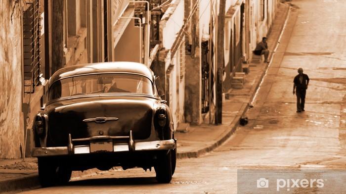 Vinil Duvar Resmi Bir sokakta, Küba klasik araba -