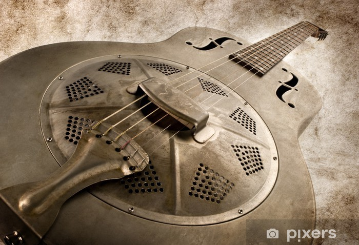 vintage blues guitar Pixerstick Sticker - Themes