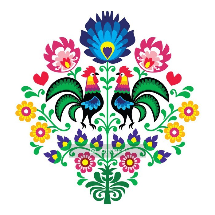 Polish folk embroidery with roosters - Wzory Lowickie Wall Decal - Styles