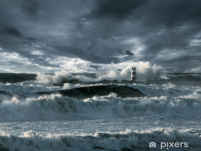 Fototapeta winylowa Atlantycki sztorm - Latarnia morska