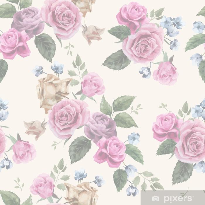 Vinilo Pixerstick Estampado De Flores Sin Fisuras Con Las Rosas