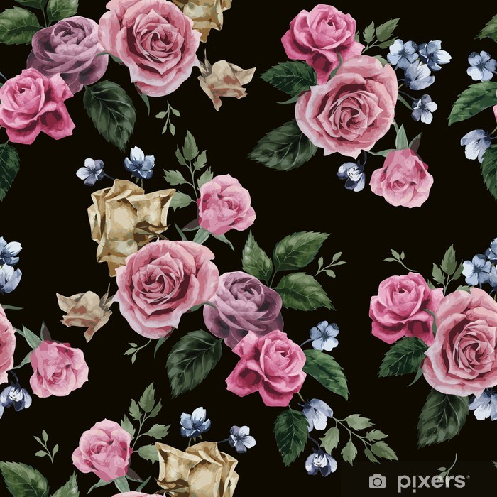 Adesivo Pixerstick Vector seamless floreale con rose su sfondo nero - Sfondi