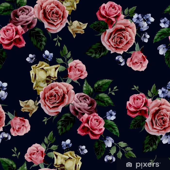 Papier Peint Vector Motif Floral Avec Des Roses Sur Fond Noir
