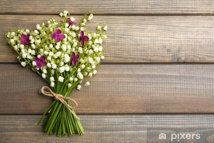 Pixerstick Sticker Mooie lila bloemen en lelies van de vallei, - Bloemen