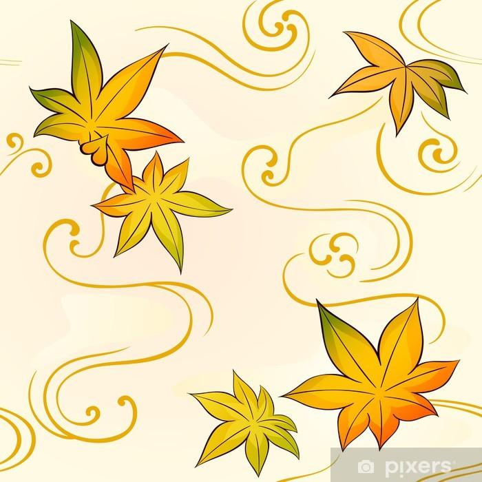 Poster Motif de kimono floral avec des feuilles d'automne - Asie