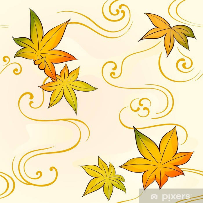 Seamless floral kimono pattern with autumn leaves Poster - Asia
