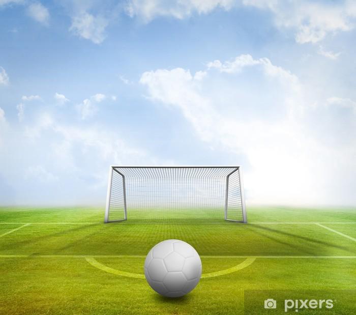 Plakat Cyfrowo generowane białe skórzane piłki nożnej - Tła