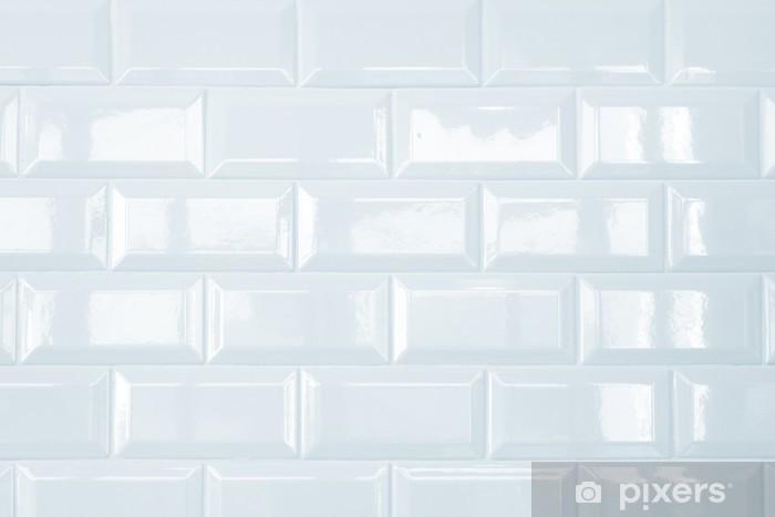 Pixerstick Sticker Witte keramische steen tegel muur, achtergrond - Texturen