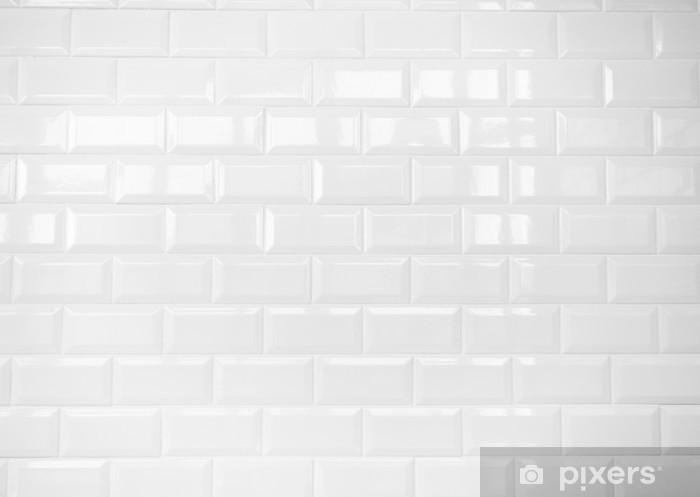 White Ceramic Brick Tile Wall Background Wall Mural Vinyl