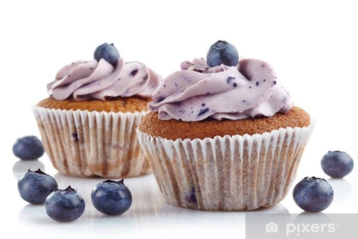Papier peint vinyle Petits gâteaux aux bleuets - Thèmes