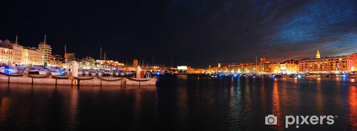 Pixerstick Sticker Oude haven van Marseille Night - Europa