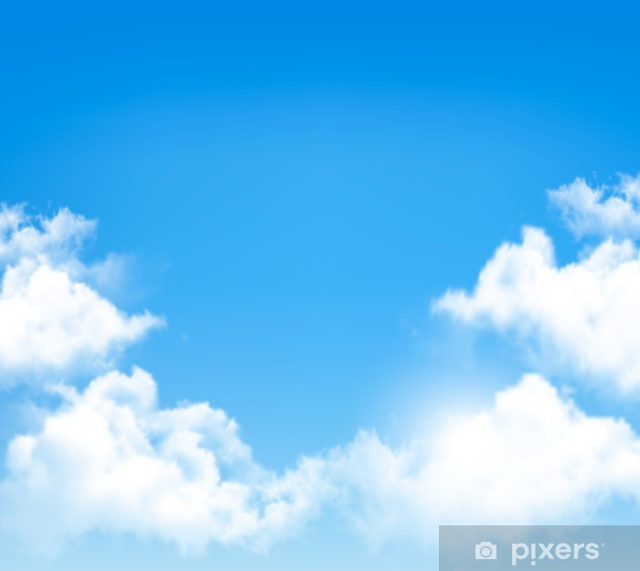 Wall Mural - Vinyl Background with blue sky and clouds  Vector