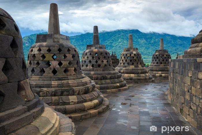 Naklejka Pixerstick Borobudur Buddist świątynia Yogyakarta. Java, Indonezja - Azja