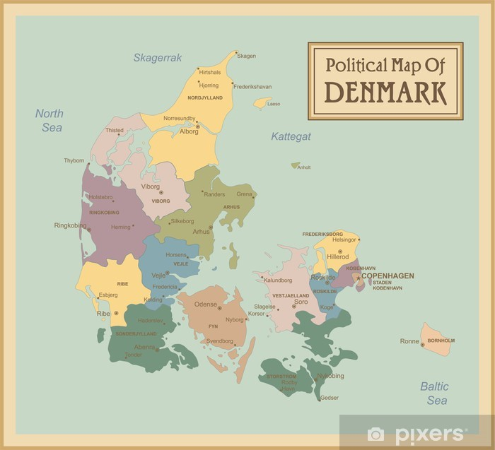 Danmark Meget Detaljeret Kort Lagere Brugt Plakat Pixers Vi