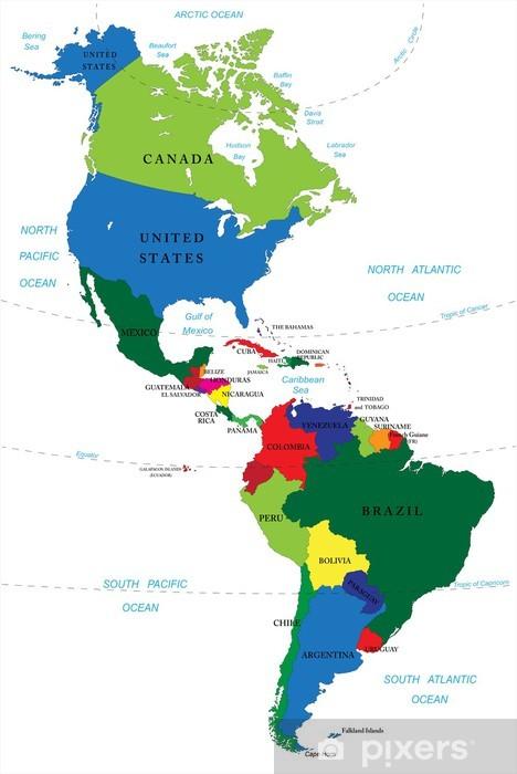 Pohjois Ja Etela Amerikka Kartta Pixerstick Tarra Pixers