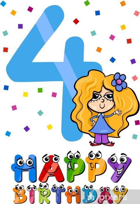 Pixerstick Aufkleber Vierten Geburtstag Cartoon-Design - Feste