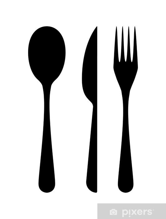 Papier peint vinyle Couverts - couteau, fourchette et cuillère - Signes et symboles